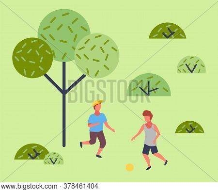 Illustration Of The Two Boys Playing Soccer Near The Park. The Best Summer Child S Outdoor Activitie