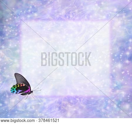 Rainbow Butterfly Frame For Your Spiritual Messages - A Butterfly With Closed Wings In Bottom Left C