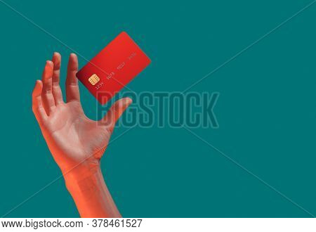 Close Up Female Hand Holds Levitating Template Mockup Bank Credit Card With Online Service Isolated