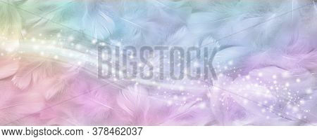 Gorgeous Rainbow Coloured Feather Sparkle Banner - Wide Background With Random Scattered Small White
