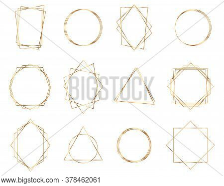 Golden Geometric Frames. Geometrical Polyhedron. Luxury Gold Geometric Frame Collection.