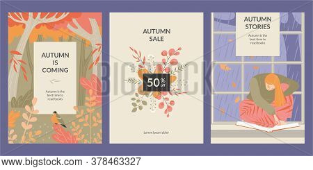 Set Of Vector Banners With A Girl Reading A Book, Autumn Forest And A Bouquet Of Leaves. Autumn Is T