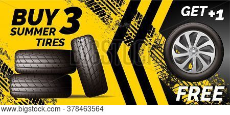 Car Tires Shop Banner With Discount Offer, Yellow Background. Brochure Template With Automobile Whee