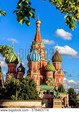 Saint Basil`s Cathedral On Red Square In Summer, Moscow, Russia. This Place Is Famous Tourist Attrac