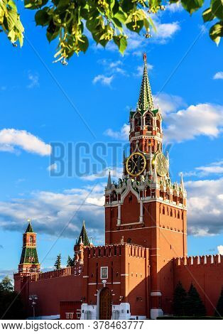Moscow Kremlin On Old Red Square In Summer, Moscow, Russia. It Is Famous Tourist Attraction Of Mosco