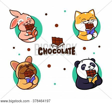 Set Of Logos Chocolate. Logotypes Animals Eats Chocolate.