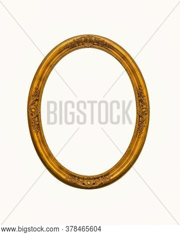 Vintage Gold Oval Frames Or Photo Frame Elegant Isolated On White Background.