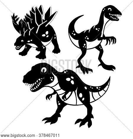 Set Of Funny Dinosaurs On White Background.