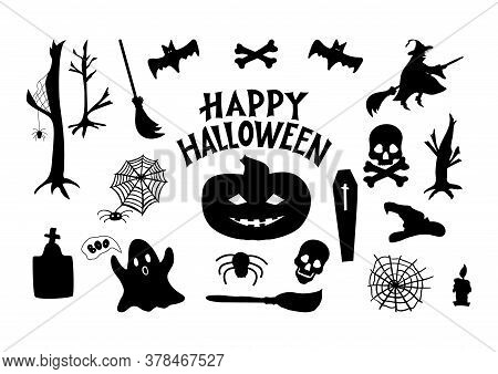 Set Of Halloween Icons. Pumpkin, Witch, Broom, Grave, Skull, Bones, Ghost, Spider, Coffin, Bat, Web,