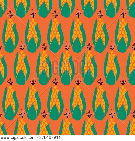 Seamless Vector Pattern Corn. Maize Repeating On An Orange Background. Autumn, Fall, Harvesting Desi
