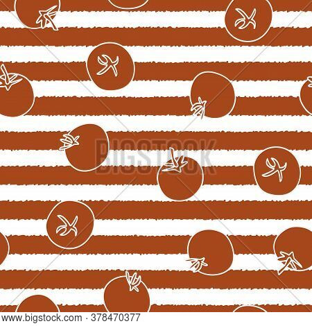 Vector Vegetables Tomatos On White And Red Stripes Seamless Repeat Pattern. Background For Textiles,