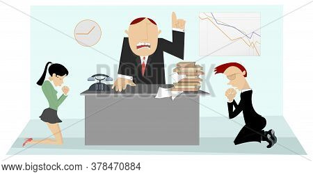 Angry Boss Scolds Staff Illustration. Angry Chief Scolds Frightened Kneeling Woman And Man