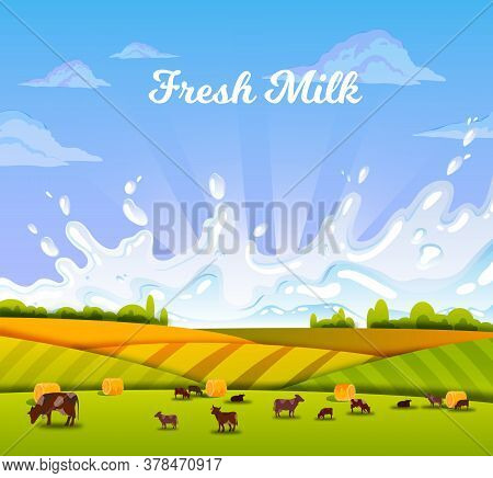 Milk Farm Landscape With Grazing Livestock, Cows, Green Fields, Hills, Milk Splash, Haystacks, Cloud