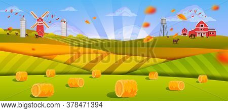 Autumn Farm Landscape With Haystacks, Green Fields, Hills, Barn, Mill, Cows, Sunrays, Falling Leaves