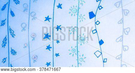Distress Line Pattern. Curve Blue Retro Ornament. Background Distress Line Pattern. Cartoon Childish