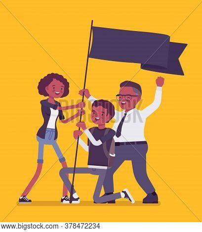 Blm Demonstration Black Lives Matter, Flag Protest Or Victory Symbol. Activists Of Political, Social