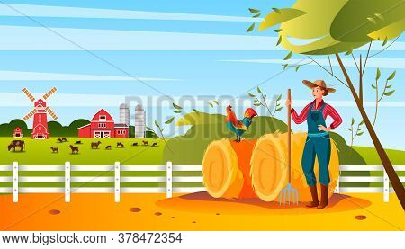 Organic Farm Landscape With Woman Farmer, Haystack, Cock, Mill, Livestock, Barn, Pitchfork. Agricult