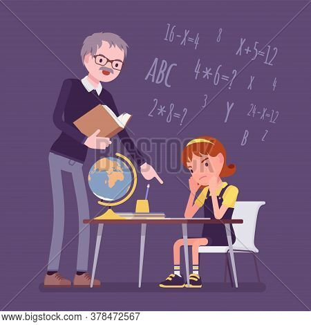 Male Teacher And Girl Student. Unhappy Child Studying Under Strict Control, Bored Single Pupil Doing