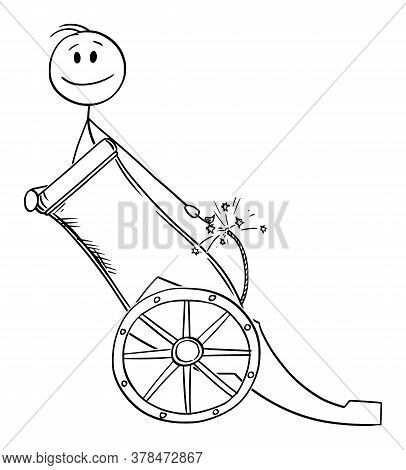 Vector Cartoon Stick Figure Drawing Conceptual Illustration Of Man Or Businessman In Cannon As Canno