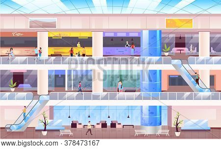 Shopping Mall Flat Color Vector Illustration. People In Large Mall 2d Cartoon Characters With Skylin