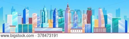 Urban Landscape Flat Color Vector Illustration. City Skyline. Metropolis 2d Cartoon Cityscape With S