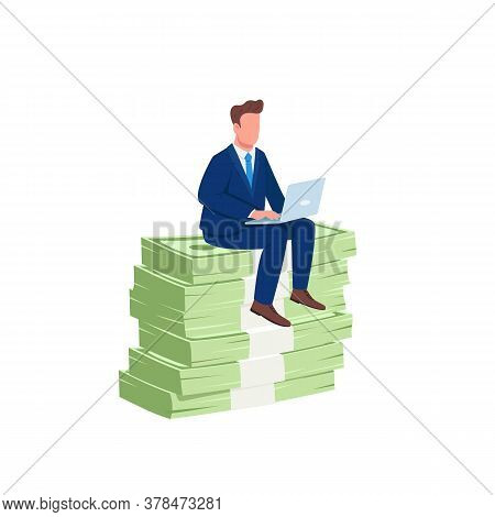 Investor Sitting On Pile Of Money Flat Concept Vector Illustration. Successful Office Worker. Employ