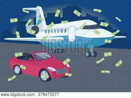 Car And Plane With Money Rain Flat Color Vector Illustration. Winning Lottery. Richness. Wealthy Lif