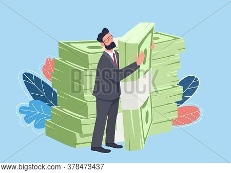 Businessman Hugging Big Cash Pack Flat Concept Vector Illustration. Rich Man Standing And Holding St