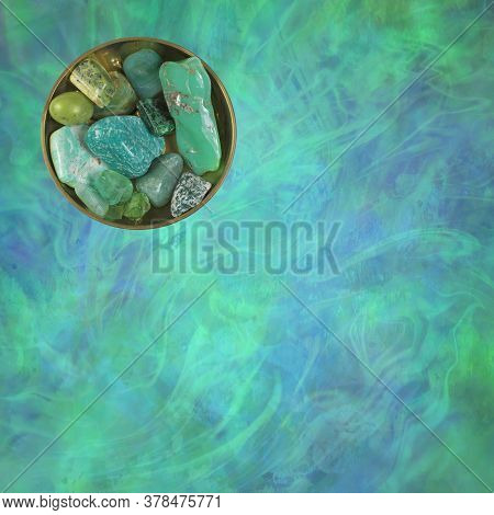 Green Heart Chakra Healing Crystal Selection - Circular Brass Dish With 10 Different Green Coloured