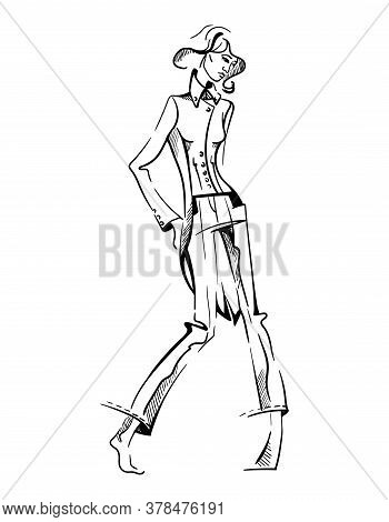 Hand Drawn Fashion Young Woman On White Isolated Background. Girl Model One Line Drawing Art Sketch.