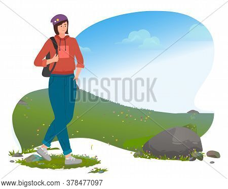 Girl In Sportswear In A Hat Carries A Backpack On Her Shoulder. Stylish Young Female Chracter Walkin