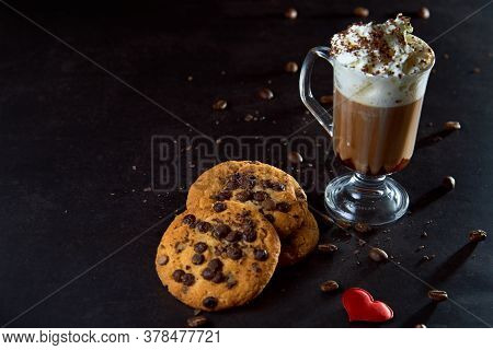 Close Up Of A Glass Cup Of Coffee With Whipped Cream And Chocolate On It, Chocolate Chip Cookies And
