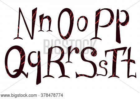 Beast Scratch Alphabet. Hand Drawn Lettering For Halloween Design. N, O, P, Q, R, S, T Letters For L