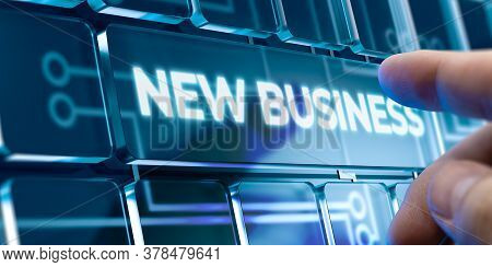Man Using A New Business System By Pressing A Button On Futuristic Interface. Business Concept