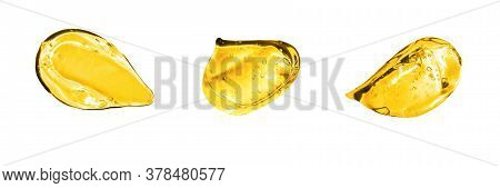 Set Of Assorted Gold Gel Strokes. Vitamin C Serum, Cosmetic Gel Texture. Texture Of Hyaluronic Acid,