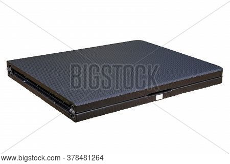 Folding Table Isolated. Close-up Of A Portable Folding Outdoor Plastic Table In Rattan Look For Camp