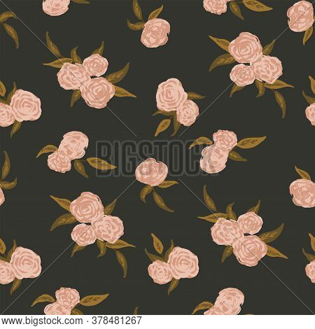 Dark Painted Roses Seamless Vector Pattern. Painted Roses With Brush Stroke Texture In Pink And Gree