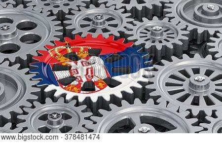 Serbian Flag On The Gearwheel, Business Industrial Concept. 3d Rendering