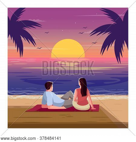 Romantic Sunset Semi Flat Vector Illustration. Tropical Beach. Woman And Man Watch Waves. Palm Trees