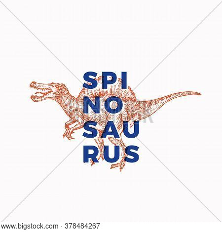 Prehistoric Dinosaur Abstract Sign, Symbol Or Logo Template. Hand Drawn Spinosaurus Reptile With Mod
