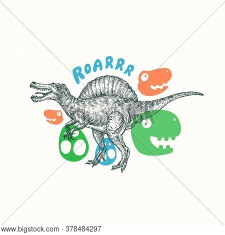 Prehistoric Dinosaur Abstract Sign, Symbol Or Card Template. Hand Drawn Spinosaurus Reptile With Fun