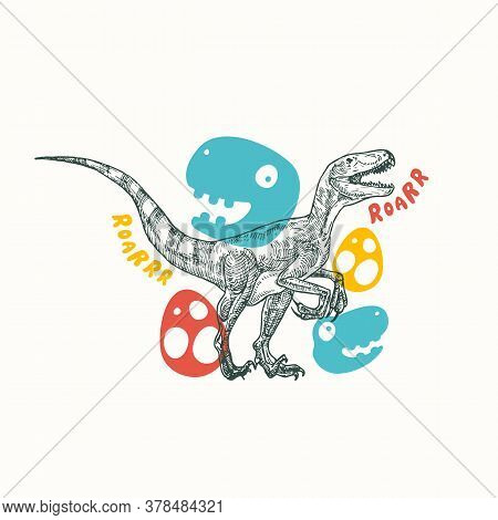Prehistoric Dinosaur Abstract Sign, Symbol Or Card Template. Hand Drawn Velociraptor Reptile With Fu