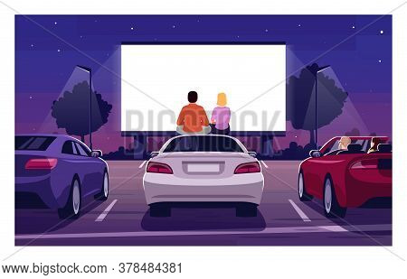 Romantic Movie Night Semi Flat Vector Illustration. Open Air Cinema. Drive In Premiere. Weekend Ente