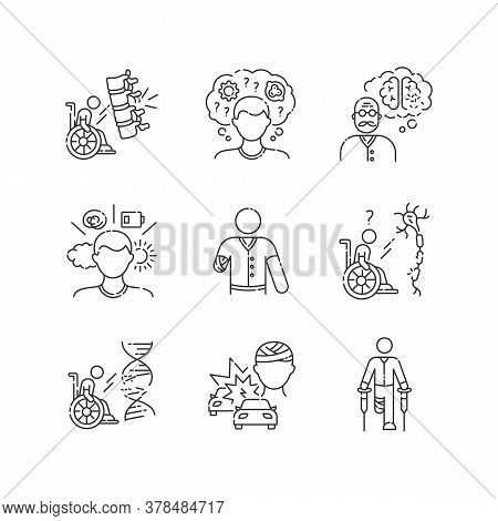 Patient With Disability Linear Icons Set. Handicapped Man. Paralyzed Person In Wheelchair. Customiza
