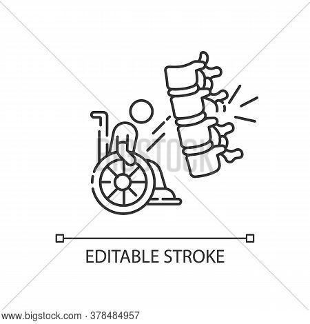 Spine Injury Linear Icon. Fractured Vertebrae. Handicapped Patient In Wheelchair. Health Problem. Th