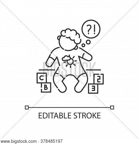 Developmental Delay Linear Icon. Child With Difficulty Of Learning. Cognitive Ability Problem. Thin