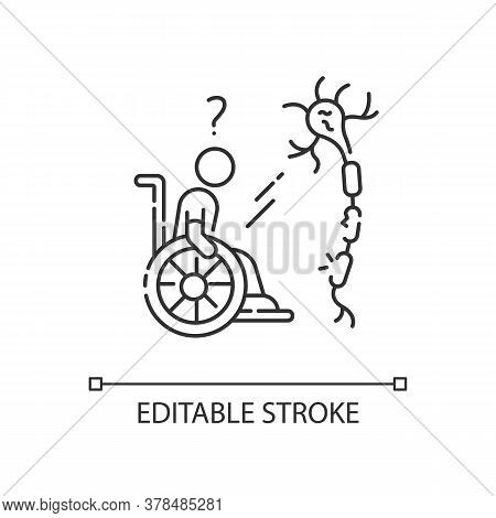Multiple Sclerosis Linear Icon. Handicapped Man. Neurology Problem. Trauma Treatment. Thin Line Cust