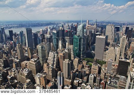 New York / United States - 30 Jun 2017: The View From Empire State Building In New York, United Stat
