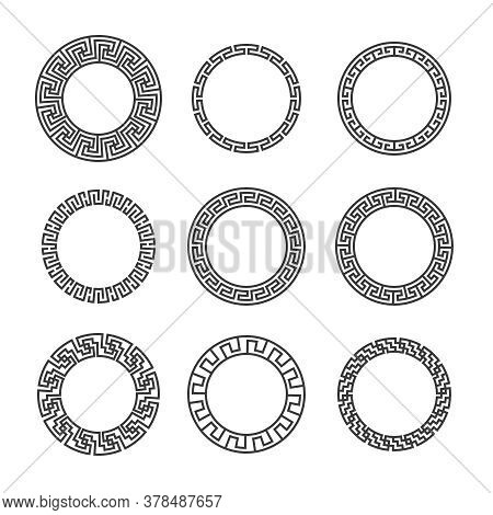 Greek Round Frames. Ancient Circular Mediterranean Black Frame Borders With Hellenic Pattern. Geomet