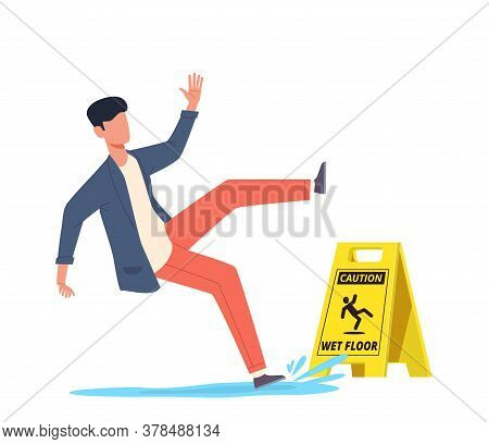 Wet Floor. Falling Man Slips In Water, Slipping And Downfall, Injured Unbalanced Character, Personal